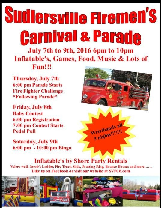 Sudlersville Carnival & parade July 7th-9th